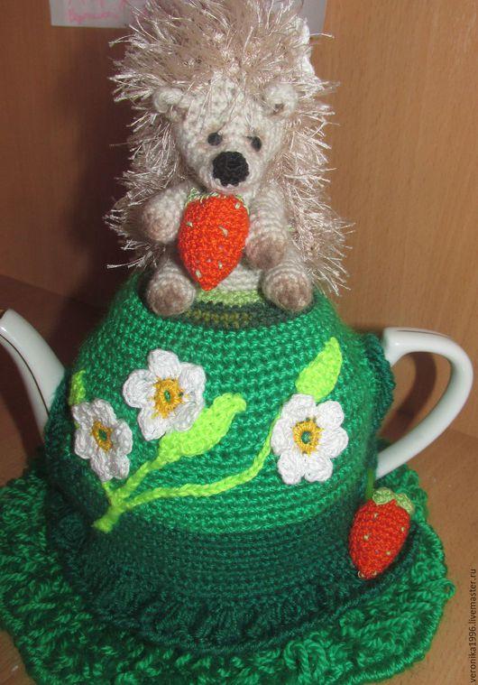 """Кухня ручной работы. Ярмарка Мастеров - ручная работа. Купить грелка""""ЕЖИК"""". Handmade. Зеленый, чай, пряжа травка"""