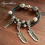 Украшения handmade. Livemaster - original item Bracelet and earrings on leather cord