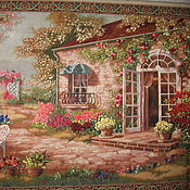Картины и панно handmade. Livemaster - original item The picture Spanish patio. 115 x 70 Embroidery ribbons. Handmade.