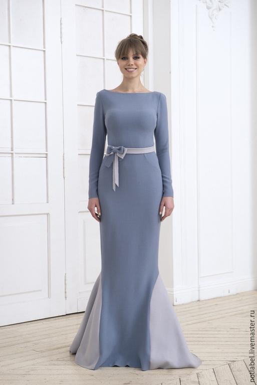 Платья ручной работы. Ярмарка Мастеров - ручная работа. Купить Вечернее платье. Handmade. Голубой, платье в пол, креп