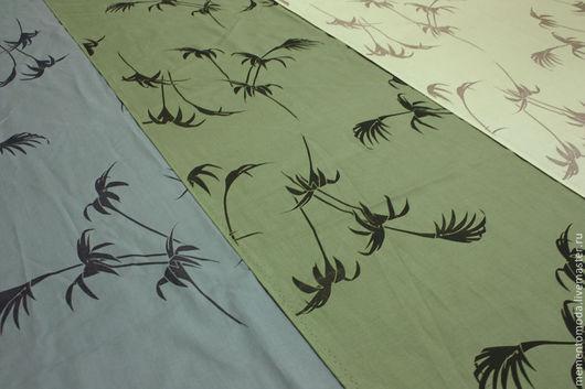 """Шитье ручной работы. Ярмарка Мастеров - ручная работа. Купить Плательно-блузочный хлопок """"Пальмы"""". Handmade. Плательная ткань"""