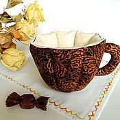 Посуда ручной работы. Ярмарка Мастеров - ручная работа Чашка текстильная Шоколад с корицей. Handmade.