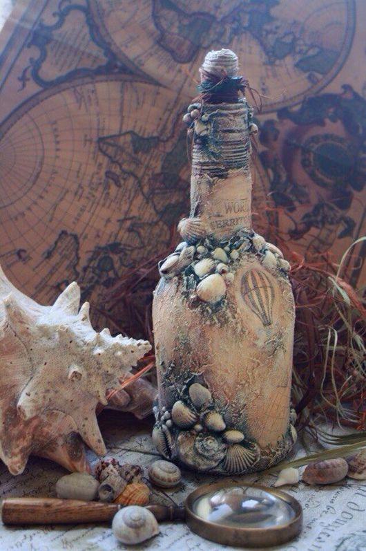 """Подарочное оформление бутылок ручной работы. Ярмарка Мастеров - ручная работа. Купить Бутылка """" Вокруг света """". Handmade."""