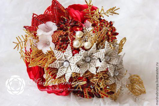 Свадебные цветы ручной работы. Ярмарка Мастеров - ручная работа. Купить Брошь-букет невесты КРАСНЫЙ + АЙВОРИ. Handmade.