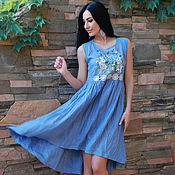 Одежда handmade. Livemaster - original item Romantic linen sundress with embroidery
