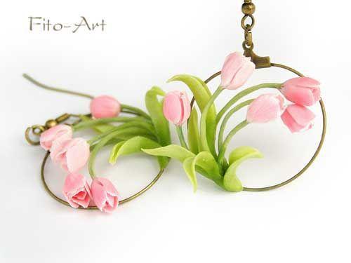 Серьги ручной работы. Ярмарка Мастеров - ручная работа. Купить Весенние серьги с розовыми тюльпанами. Handmade. Тюльпаны, романтичное украшение