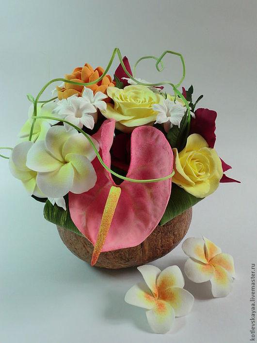 """Цветы ручной работы. Ярмарка Мастеров - ручная работа. Купить Композиция в кокосе """"Тропикана"""". Handmade. Тропические цветы, авторская работа"""