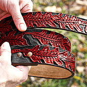 Аксессуары handmade. Livemaster - original item Handmade leather belt with oak leaves. Handmade.