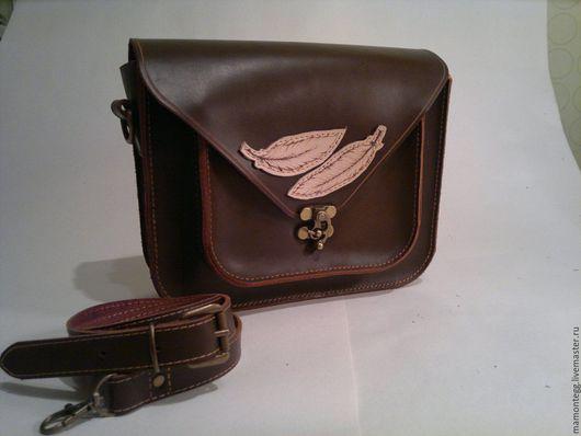 Женские сумки ручной работы. Ярмарка Мастеров - ручная работа. Купить коричневый сетчел. Handmade. Коричневый, сетчел, подарок женщине