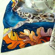 """Аксессуары ручной работы. Ярмарка Мастеров - ручная работа Батик платок """"Осенний дождь"""". Handmade."""