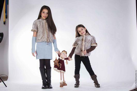 Одежда для девочек, ручной работы. Ярмарка Мастеров - ручная работа. Купить Детская мутоновая жилетка. Handmade. Серый, пальто для девочки