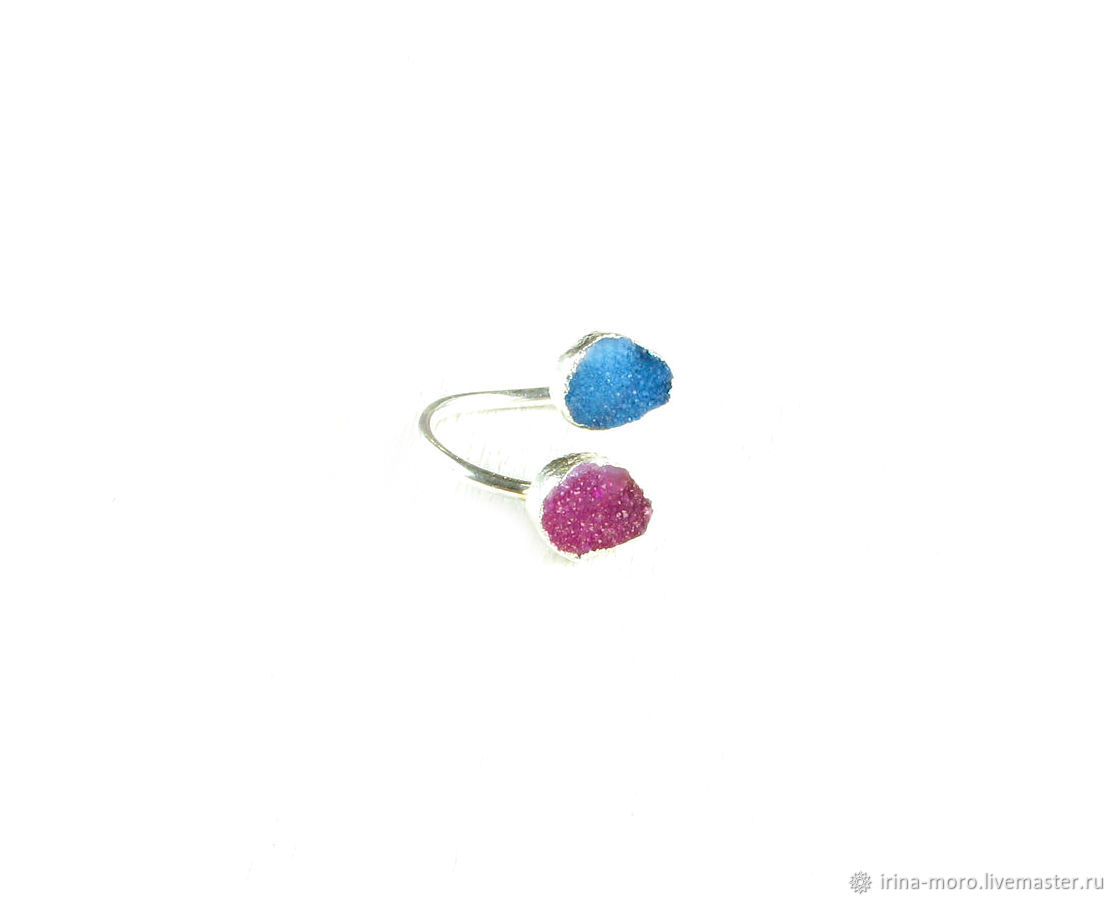 Ring with quartz Druse 'Dawn' crimson ring, blue, Rings, Moscow,  Фото №1