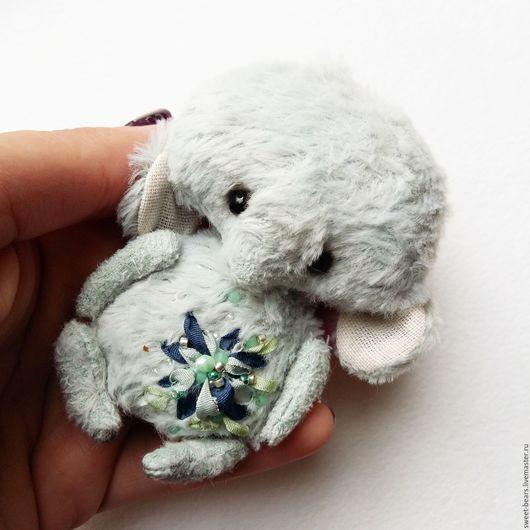 """Мишки Тедди ручной работы. Ярмарка Мастеров - ручная работа. Купить маленький слоник тедди """"Облачко"""". Handmade. Голубой, слон"""