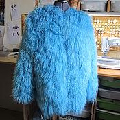 Одежда ручной работы. Ярмарка Мастеров - ручная работа Голубая шуба из ламы. Handmade.