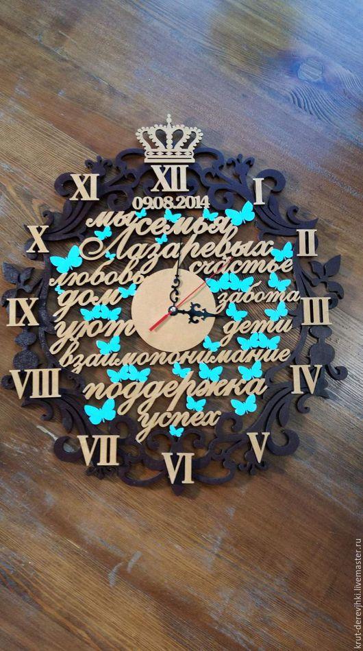 Часы для дома ручной работы. Ярмарка Мастеров - ручная работа. Купить Фамильные часы из дерева. Часы со словами.. Handmade.