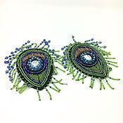 Материалы для творчества handmade. Livemaster - original item Matchless embroidered beaded applique, peacock Feather. Handmade.