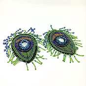 Материалы для творчества handmade. Livemaster - original item Matchless embroidered beaded applique, peacock Feather. Handmade.