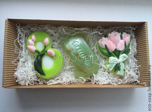 `С 8 марта, мамочка. Тюльпаны`. Набор мыла ручной работы. Подарок для мамы на 8 марта. Handmade.