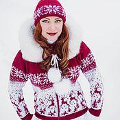 Одежда ручной работы. Ярмарка Мастеров - ручная работа Вязаная куртка Лесной олень, на молнии, с капюшоном. Handmade.