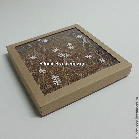 оригинальная упаковка для нового года, коробка из микрогофрокартона, оригинальная коробочка с окошком, креативная упаковка, снежинки, новый год