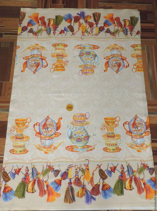 Шитье ручной работы. Ярмарка Мастеров - ручная работа. Купить Ткань Рогожка Чайники на желтом фоне. Handmade. Ткань рогожка
