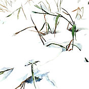 """Картины и панно ручной работы. Ярмарка Мастеров - ручная работа Акварель """"Трава в снегу"""". Handmade."""