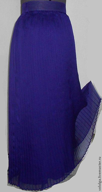 Юбки ручной работы. Ярмарка Мастеров - ручная работа. Купить Плиссированная юбка. Handmade. Тёмно-синий, шифоновая юбка