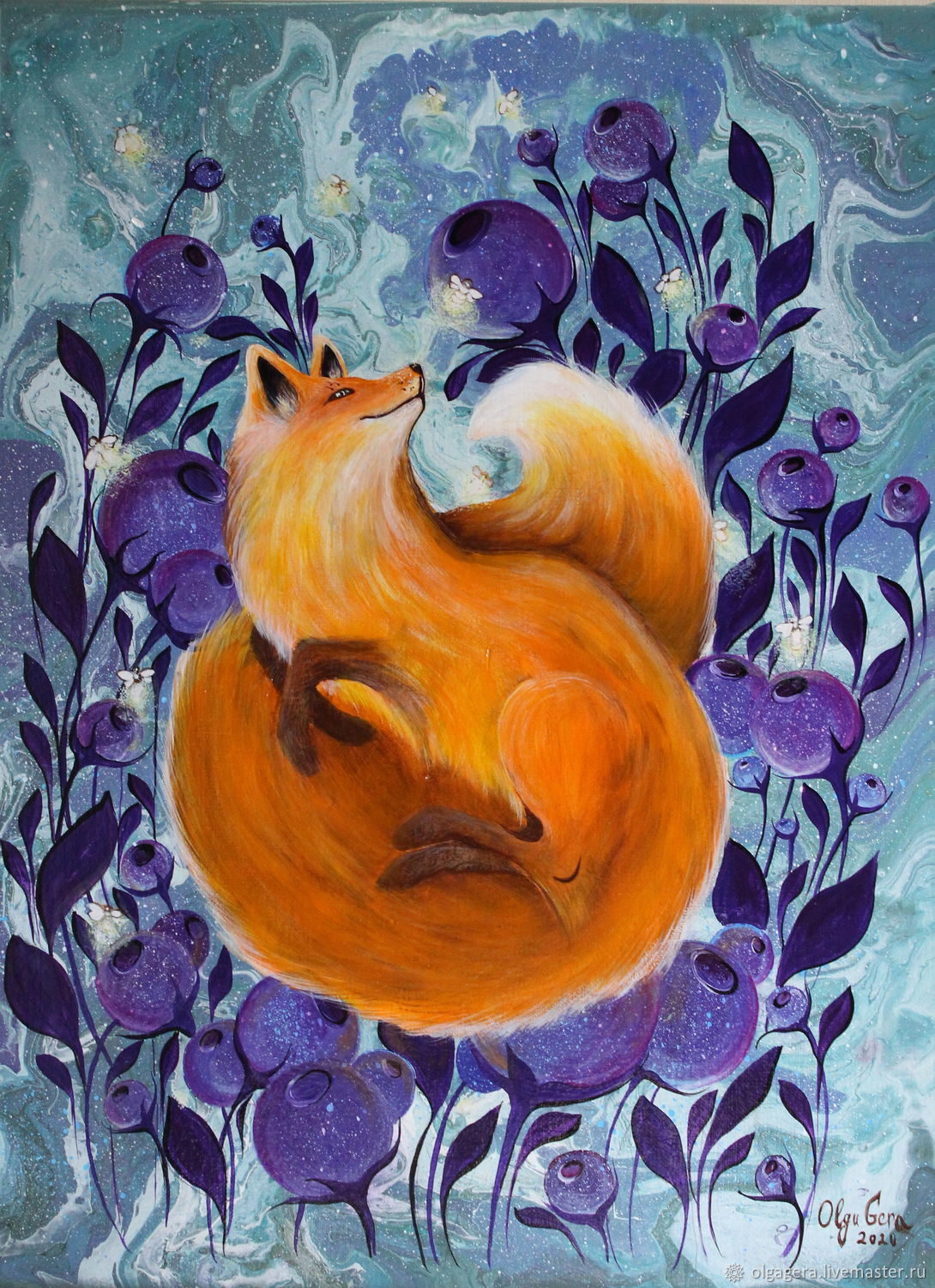 Acrylic painting on canvas 'Sunny Fox', Pictures, Moscow,  Фото №1
