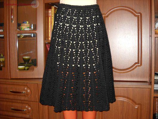 Юбки ручной работы. Ярмарка Мастеров - ручная работа. Купить юбка-годе. Handmade. Черный, юбка вязаная