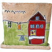 Горшки ручной работы. Ярмарка Мастеров - ручная работа Цветочный вазон с детским рисунком. Handmade.