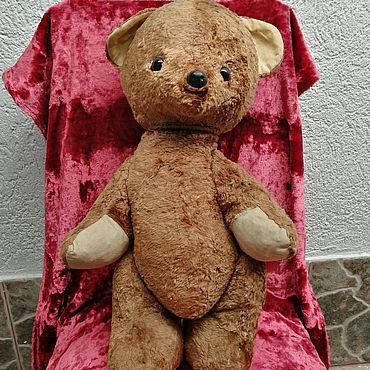 Винтаж ручной работы. Ярмарка Мастеров - ручная работа Винтажные игрушки: Большой плюшевый медведь, набит солома-опилки.. Handmade.