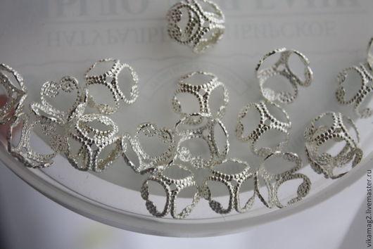 Для украшений ручной работы. Ярмарка Мастеров - ручная работа. Купить Шапочки для бусин посеребренные  Silver plated  10 мм. Handmade.