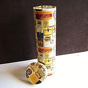 """Материалы для творчества ручной работы. Ярмарка Мастеров - ручная работа тубус """"Этикетки"""" высокая коробка под бутылку. Handmade."""