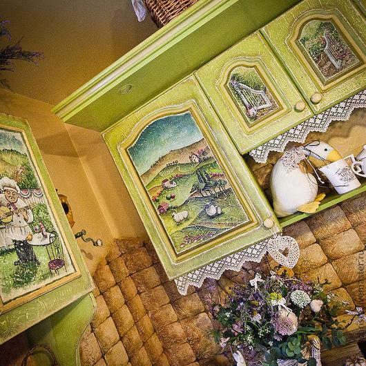 """Мебель ручной работы. Ярмарка Мастеров - ручная работа. Купить Кухонная мебель в стиле """"Прованс"""". Handmade. Оливковый, акрил"""