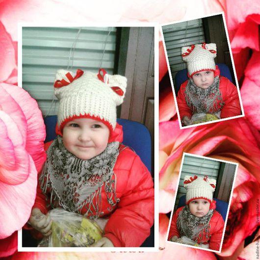 Одежда для девочек, ручной работы. Ярмарка Мастеров - ручная работа. Купить Комплект шапочка и шарф. Handmade. Комбинированный, шапочка вязаная