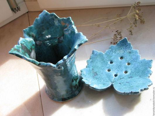 """Ванная комната ручной работы. Ярмарка Мастеров - ручная работа. Купить """"Листья цвета морской волны"""" набор для ванной. Handmade."""