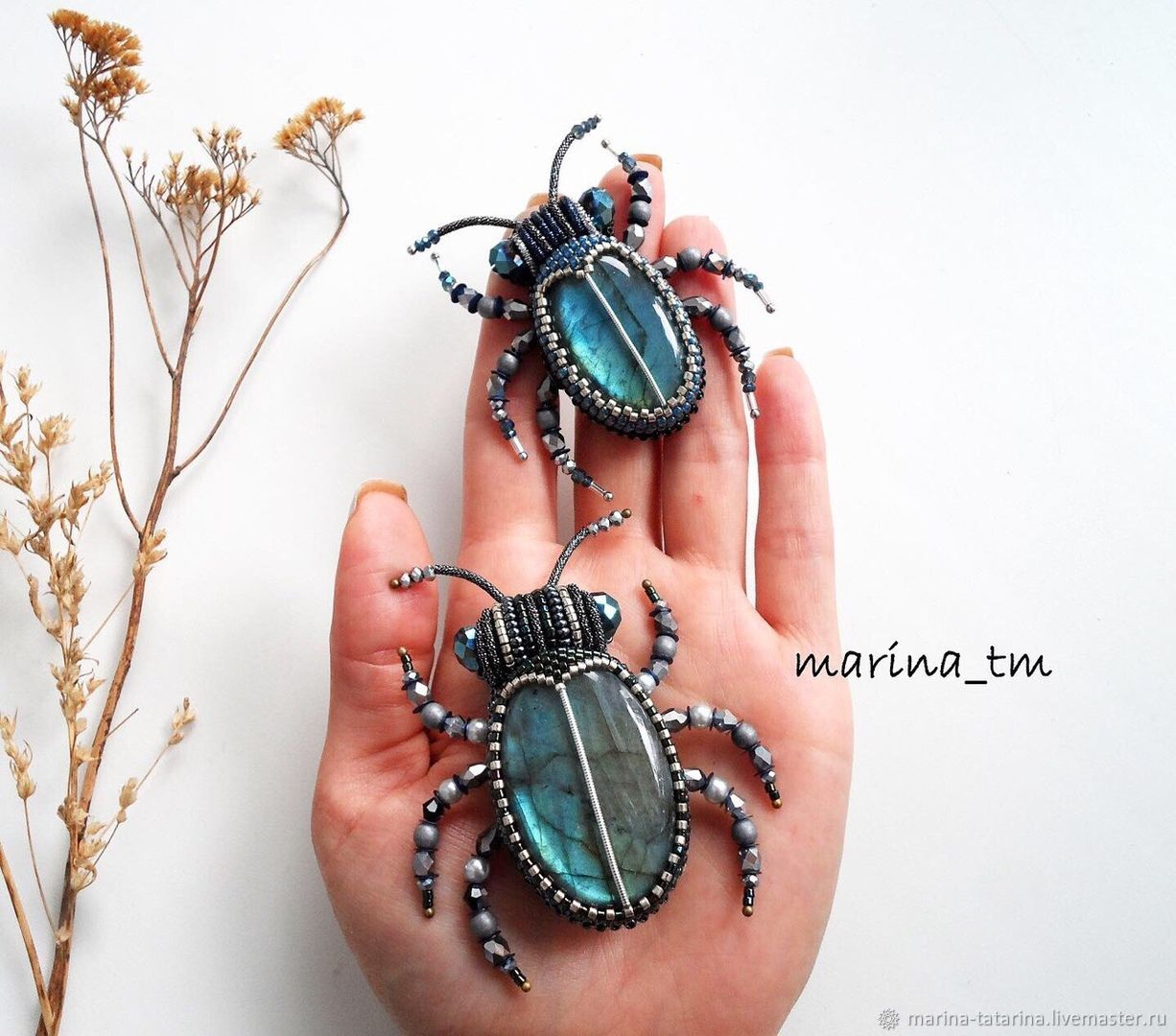'beetles with labradorites 2', Brooches, Eniseisk,  Фото №1