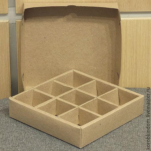 Упаковка ручной работы. Ярмарка Мастеров - ручная работа. Купить Коробка 16х16х3,5 с ячейками крафт крышка-дно. Handmade.