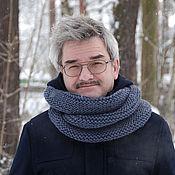 Аксессуары ручной работы. Ярмарка Мастеров - ручная работа Мужской шарф-снуд темно-серый (полушерсть). Handmade.