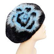 Аксессуары handmade. Livemaster - original item Winter beret made of black mink fur and trimmed with Arctic Fox. Handmade.