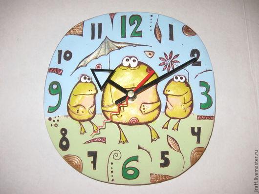 """Часы для дома ручной работы. Ярмарка Мастеров - ручная работа. Купить Часы """"Лягушки"""". Handmade. Часы настенные, часы интерьерные"""