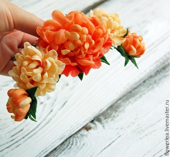 Comb With Peach Peonies Buy. FLOWERRINA (flowerina). Online Shopping