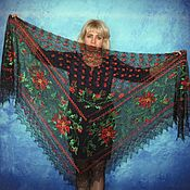 Shawls handmade. Livemaster - original item Black shawl, Lace Russian embroidered shawl, Bridal cape. Handmade.