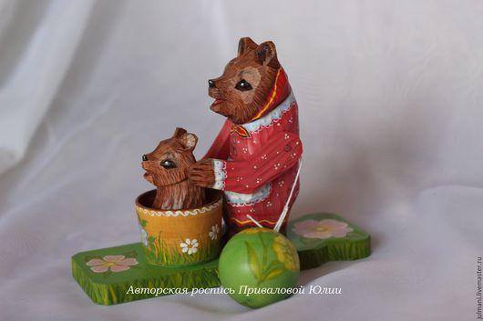 """Игрушки животные, ручной работы. Ярмарка Мастеров - ручная работа. Купить """"Мишка в бане"""", подвижная богородская игрушка, авторская роспись. Handmade."""