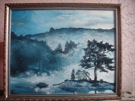 """Пейзаж ручной работы. Ярмарка Мастеров - ручная работа. Купить Картина маслом. """"Синий туман"""".. Handmade. Серый, пейзаж"""