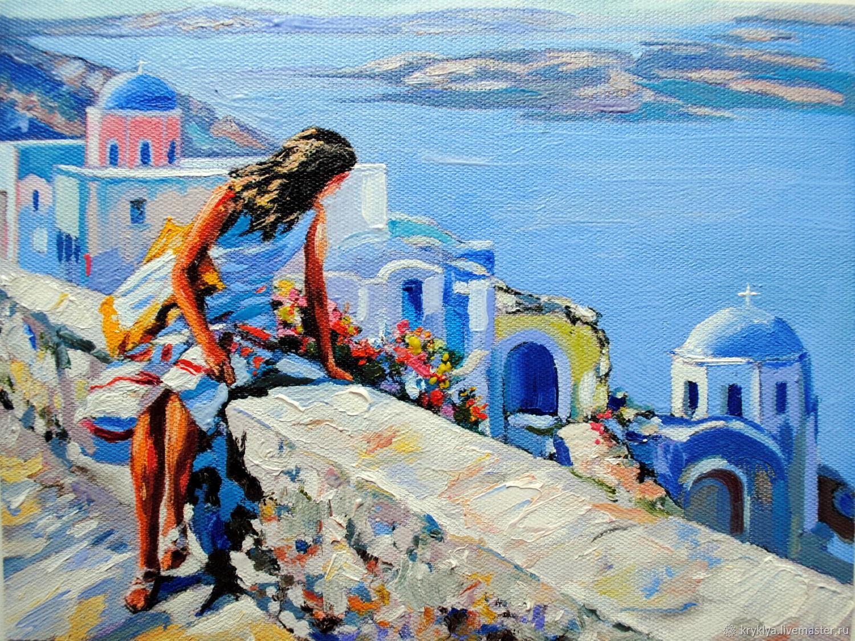 """Картина маслом """"На Санторини"""", Картины, Таганрог, Фото №1"""
