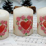Свадебный салон handmade. Livemaster - original item Wedding candles with hearts. Handmade.