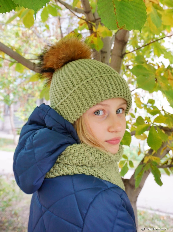 "Вязаная шапка и снуд ""Olive"", Шапки, Самара,  Фото №1"