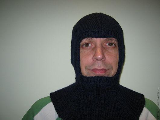 Для мужчин, ручной работы. Ярмарка Мастеров - ручная работа. Купить шапка-шлем. Handmade. Тёмно-синий, шапка вязаная
