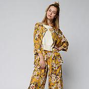 Одежда handmade. Livemaster - original item The suit of yellow printed viscose (art. 01-0512). Handmade.